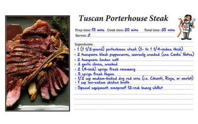 Tuscan Porterhouse Steak w/ Red Wine-Peppercorn Jus